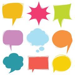 colorful speech bubble, dialog set