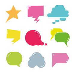 colorful comic speech bubble, dialog set