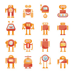 cute cartoon robot icons, red color design