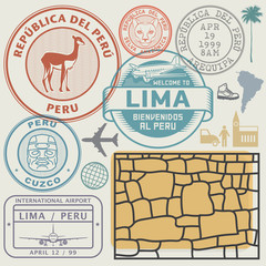 Travel stamps or symbols set Peru