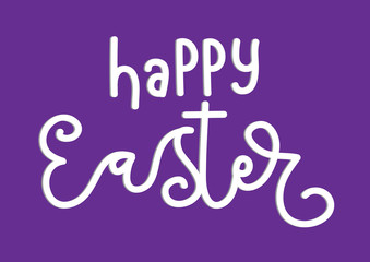 Happy Easter On Purple Background. Modern Calligraphy