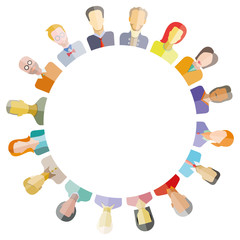 group of people surrounding blank circle for social network and community concept