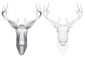 Vector illustration of a head of roe deer, front view. Two heads of deer with polygonal and reticulated 3D.