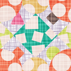 Grunge Design backdrop with geometric shapes vector illustration. Seamless pattern background with rhombus, square, triangle and circle.