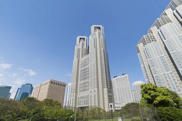 新宿高層ビル群 春 新緑 快晴 青空