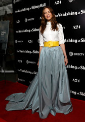 """Cast member Monaghan poses at a premiere for """"The Vanishing of Sidney Hall"""" in Los Angeles"""