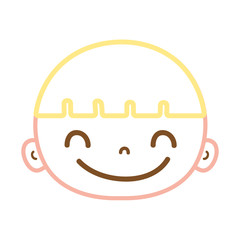 color line happy avatar boy head with hair