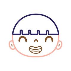 color line smile avatar boy head with hair