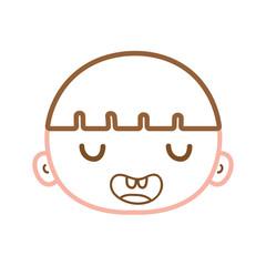 color line funny avatar boy head with hair