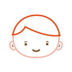 color line avatar boy face with hair