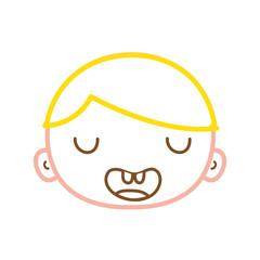 color line funny avatar boy face with hair