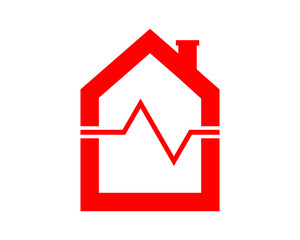 red heart rate house home house housing residence residential image icon