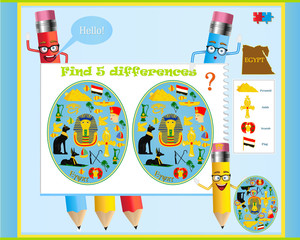 Find the differences in the children's game on the Egyptian theme