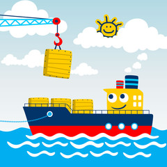 Funny cargo ship cartoon