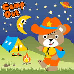 Camping day with funny animal