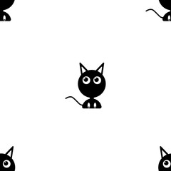 Vector image of a black kitten looking to the side. Flat seamless pattern