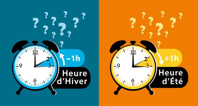 Changement d'heure. Rythme alterné heure d'hiver et heure d'été. Date et question de société. Illustration.