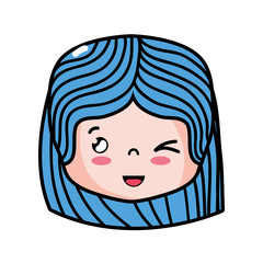 girl head with hairstyle and funny face