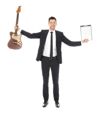Businessman with guitar and clipboard on white background