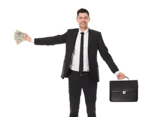 Businessman with briefcase and money on white background