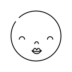 line kawaii head with cute beauty face