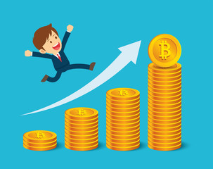Businessman are happy at the bitcoin prices up. Cryptocurrency market concept. Flat cartoon character design.