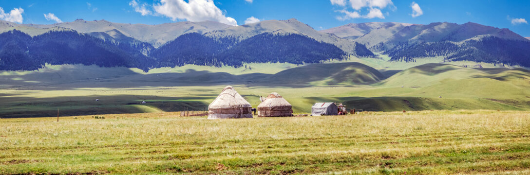 Yurts on the mountain plateau of Assy. Almaty region, Kazakhstan.