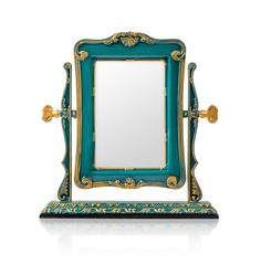 The desktop square mirror cyan color.