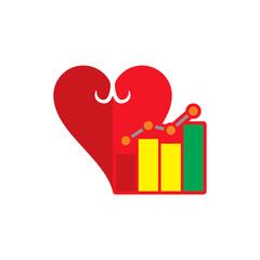 Stats Love Logo Icon Design