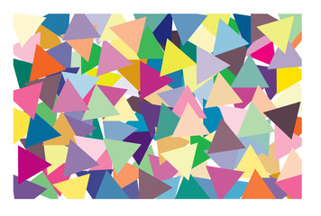 Multi color of triangle put overlap to pattern. colorful of geometry shape overlay to texture of backdrop.