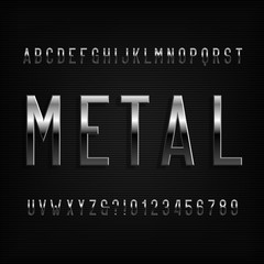 Metal effect alphabet font. Chrome narrow letters and numbers. Stock vector typography for your design.