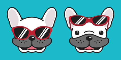 Dog vector french bulldog icon logo cartoon character illustration smile sunglasses