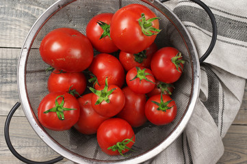 Homegrown tomatoes in colander