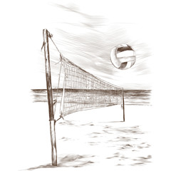 beach volleyball landscape sketch vector graphic monochrome drawing