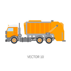 Color plain vector icon construction machinery garbage truck tipper. Industrial style. Corporate cargo delivery. Commercial transportation. Dump recycling. Business. Diesel power. Illustration design.