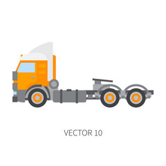 Color plain vector icon construction machinery truck container. Industrial style. Corporate cargo delivery. Commercial transportation. Building business. Diesel trailer power. Illustration for design.