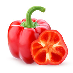 Red bell pepper, isolated on a white background.