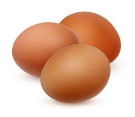 Three brown chicken egg isolated on white background