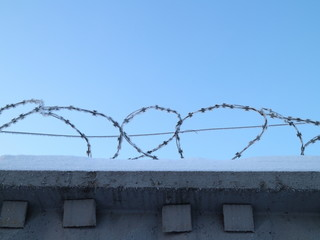 barbed wire in the snow on the fence