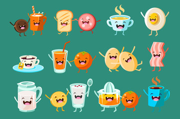Funny breakfast food comic characters sett, food with funny faces vector Illustrations