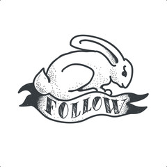 Follow The White Rabbit. Tattoo Sketch Doodle vector Illustration.