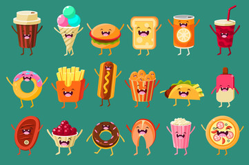 Funny fast food comic characters sett, ice cream, coffee, hot dog, pizza, french fries, toast, burger, soft drink, donut food with funny faces vector Illustrations