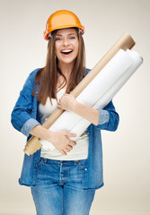 Smiling woman builder student holding paper blueprint
