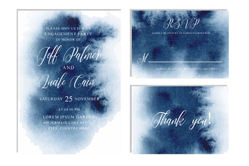 Indigo, navy blue wedding set with  hand drawn watercolor background. Includes Invintation, rsvp and thank you cards templates. Vector