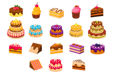 Cakes sett, sweet dessetrts, baked cakes and cupcakes made of cream, biscuit, chocolate and berries vector Illustrations on a white background