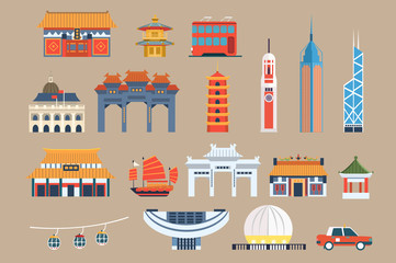 Symbols of Hong Kong sett, Chineset landmarks, travel elements vector Illustrations on a beige background Fotomurales