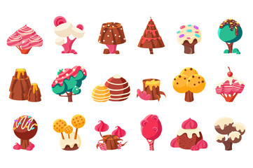 Fantasy nature landscape elements, sweet candy land vector Illustrations on a white background