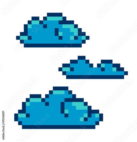 Pixel art clouds vector blue
