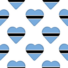 Seamless pattern from the hearts with flag of  Botswana.