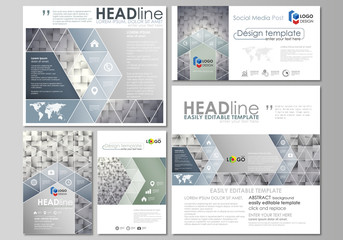 Social media posts set. Business templates. Easy editable abstract flat design template, vector layouts in popular formats. Pattern made from squares, gray background in geometrical style. Simple